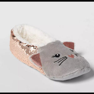 Cat slipper socks with sequins NWT!